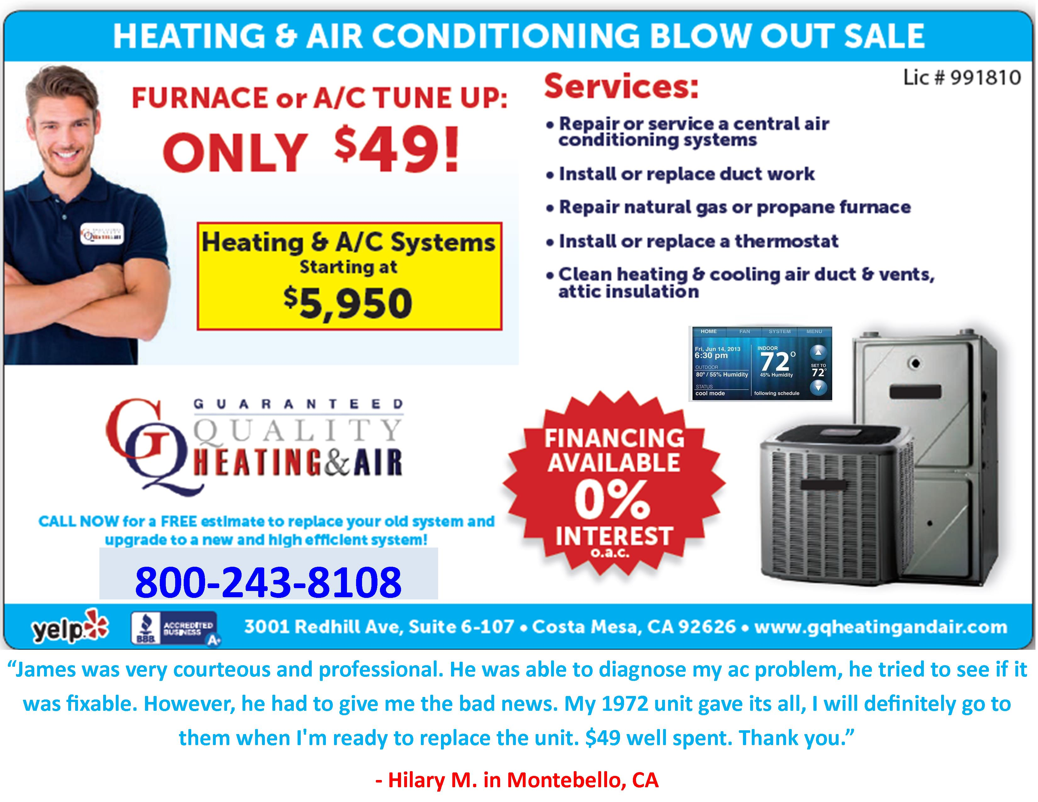 Guaranteed quality heating and air your heating and air for Indoor air design san jose ca